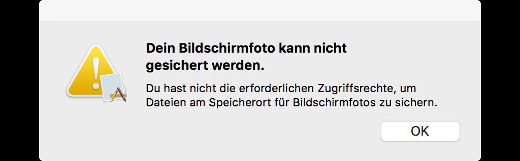 Mac Bildschirmfoto kann nicht gesichert werden