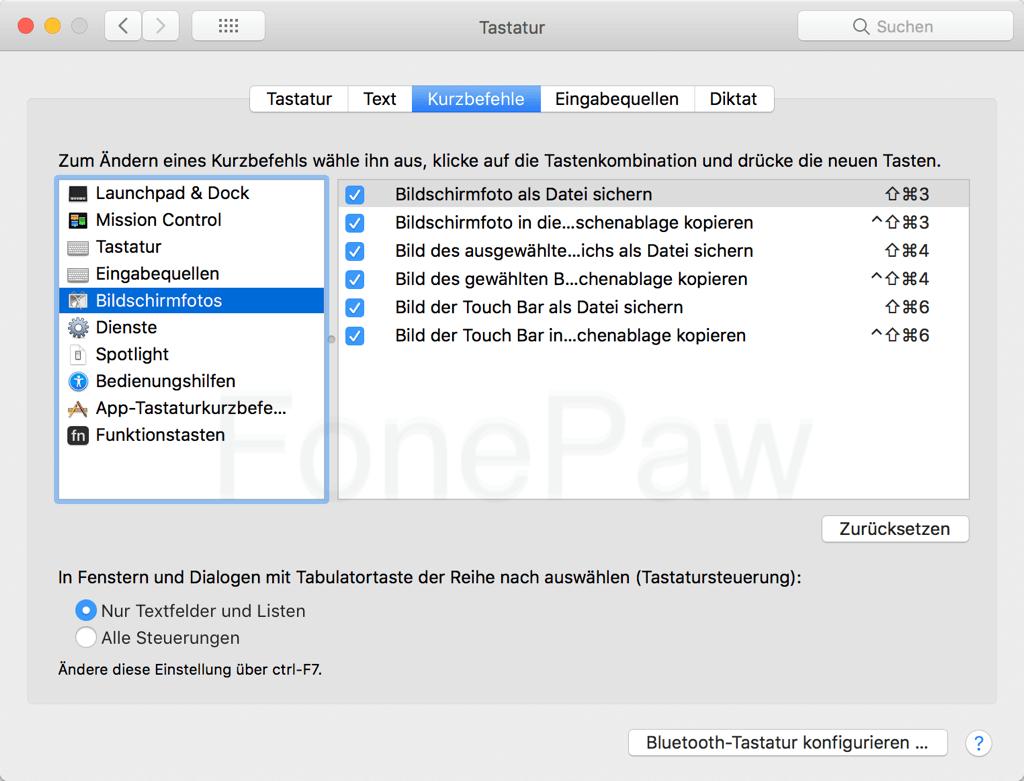 Mac Screenshot Tastenkombinationen überprüfen