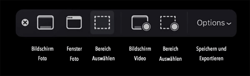 Screenshot Toolbar unter macOS Mojave