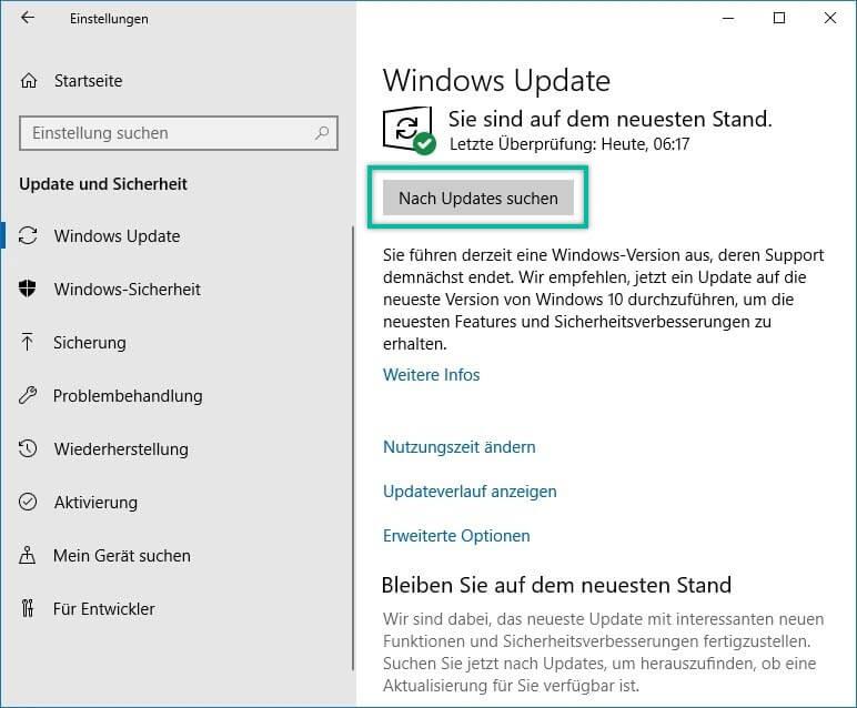 Nach Updates suchen Windows 10