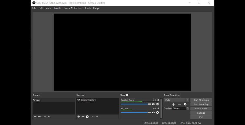 OBS Bildschirm schwarz