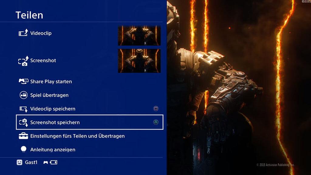 PS4-Screenshot machen
