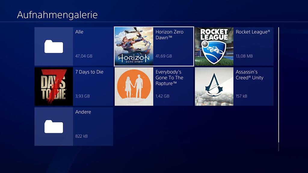 PS4-Video in Aufnahmegalerie speichern