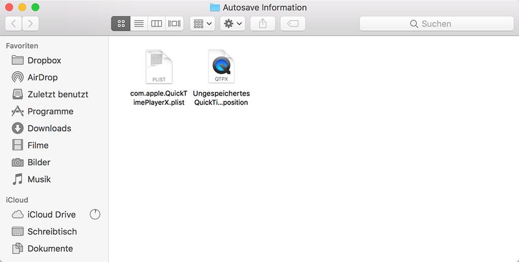 QuickTime AutoSave-Ordner