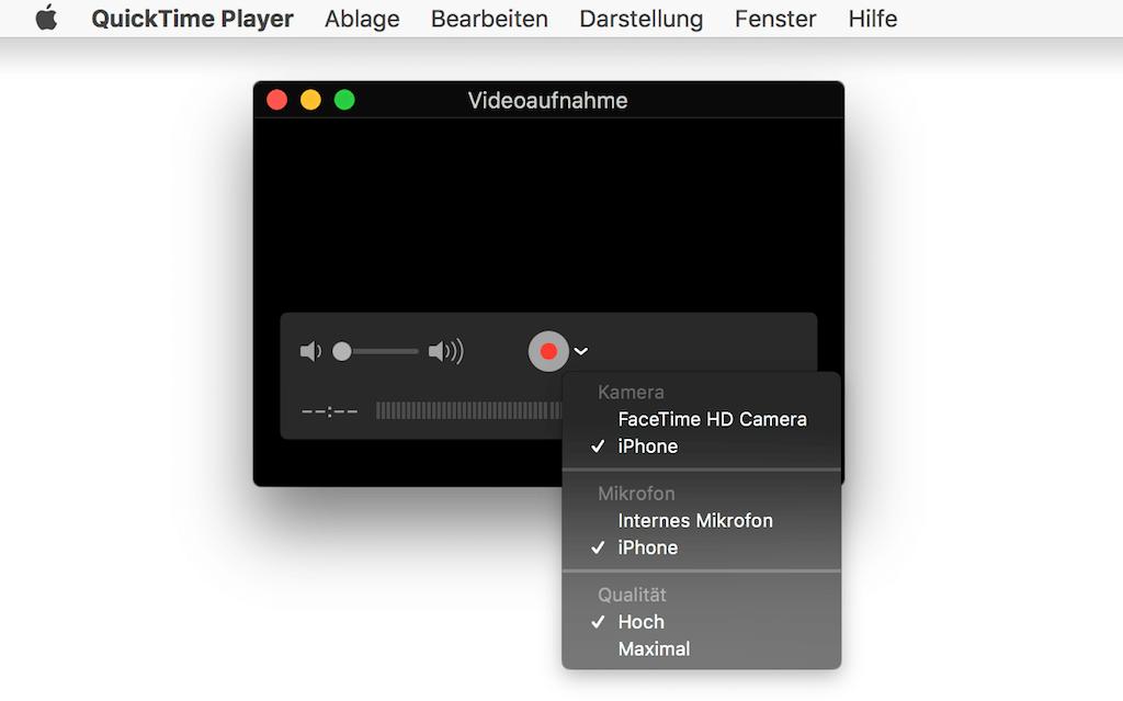 iPhone Bildschirm auf Mac duplizieren per QuickTime