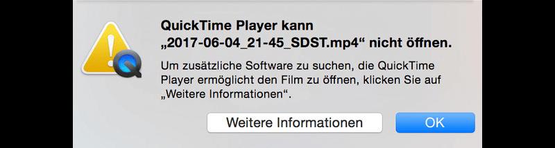 Datei kann nicht vom Quicktime geöffnet