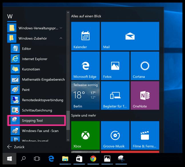 Das Snipping Tool auf Windows