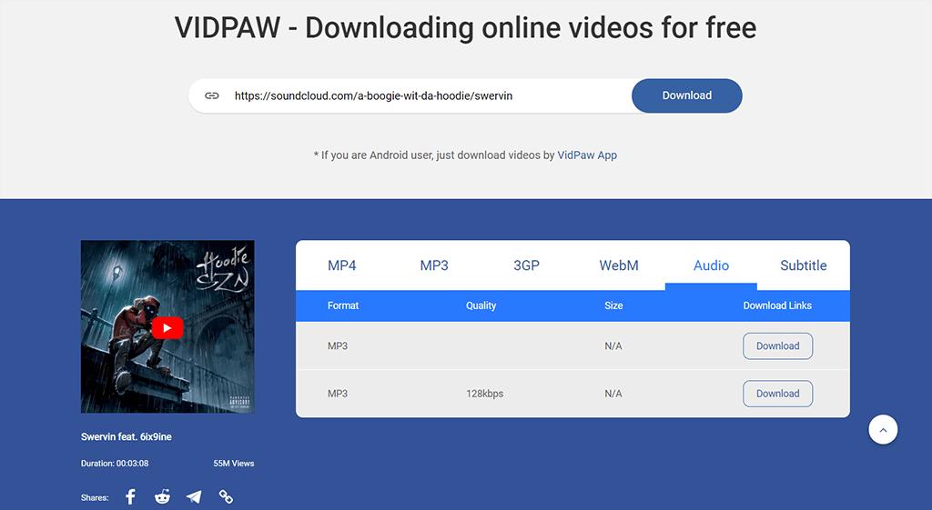 Lieder vom SoundCloud mit VidPaw herunterladen