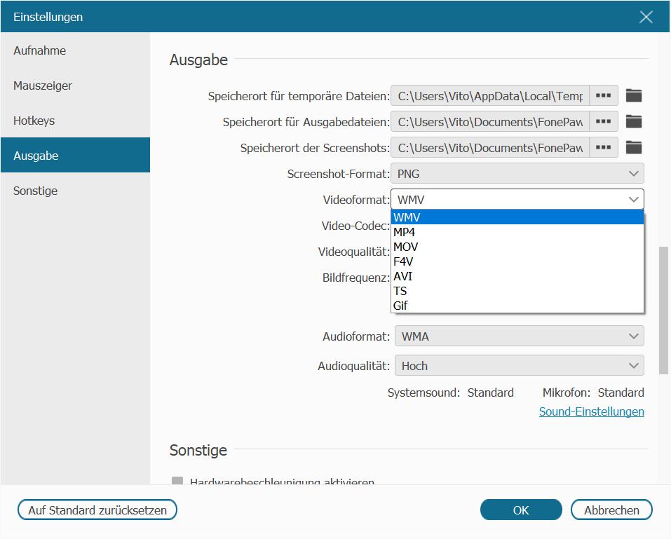 Videoformat für Bildschirmaufnahme auswählen