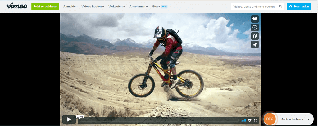 Vimeo-Video zum Aufnehmen anpassen