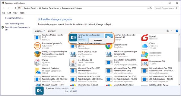 Bildschirm Recorder in Programme und Features deinstallieren
