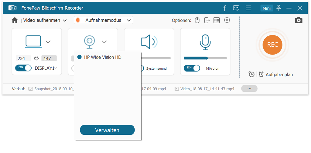 Webcam aufnehmen unter Windows 10/8/7/XP/Vista