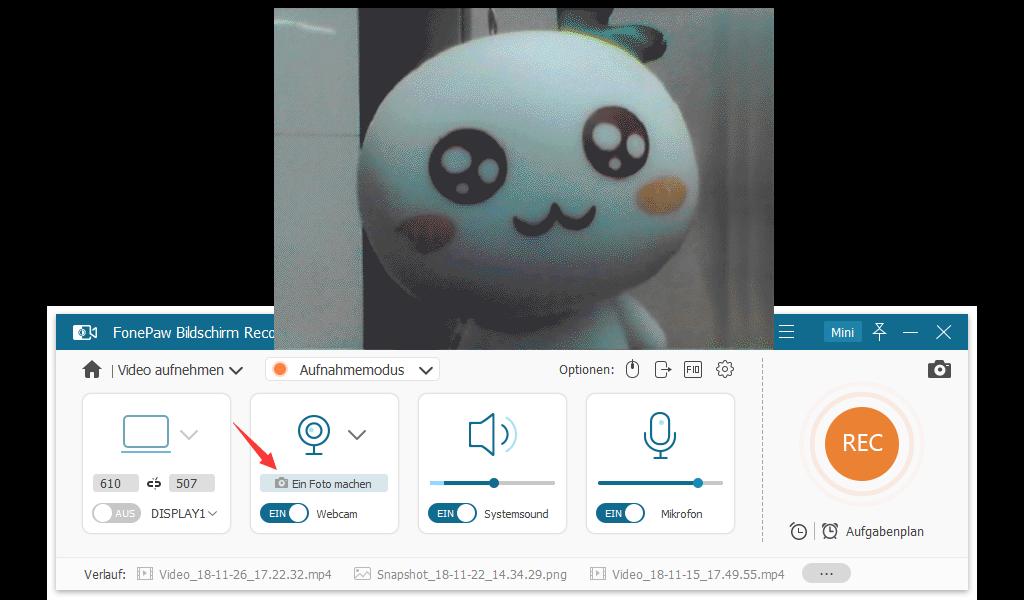 Bilder mit Webcam aufnehmen auf PC