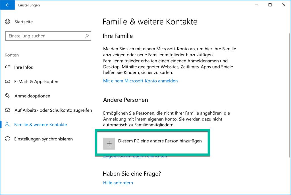 Windows 10 Diesem PC eine andere Person hinzufügen