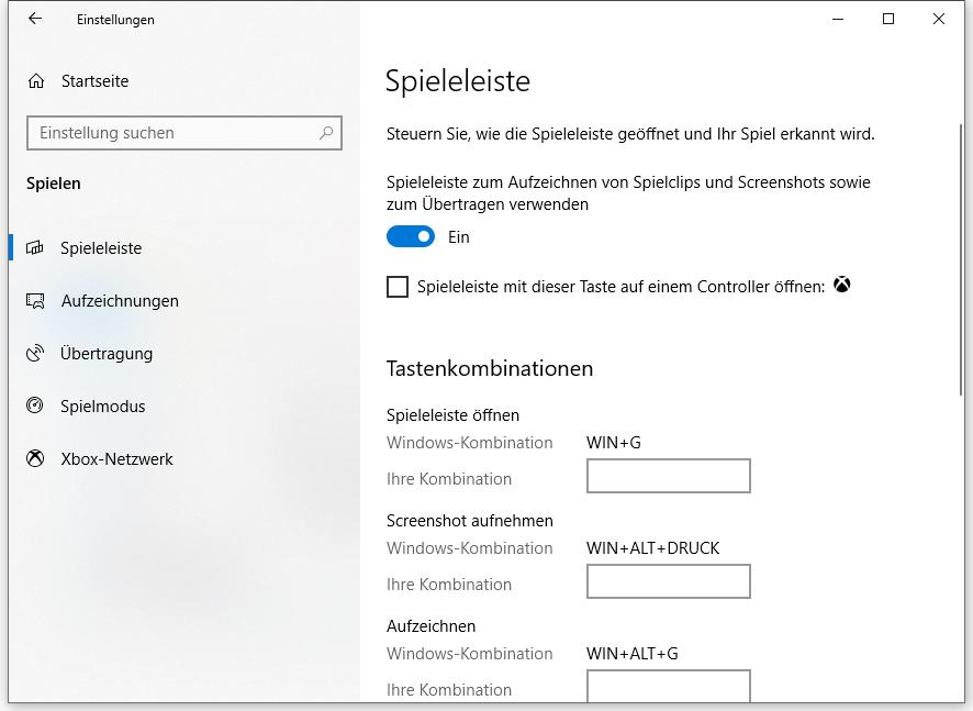 Xbox Spieleleiste einrichten Windows 10