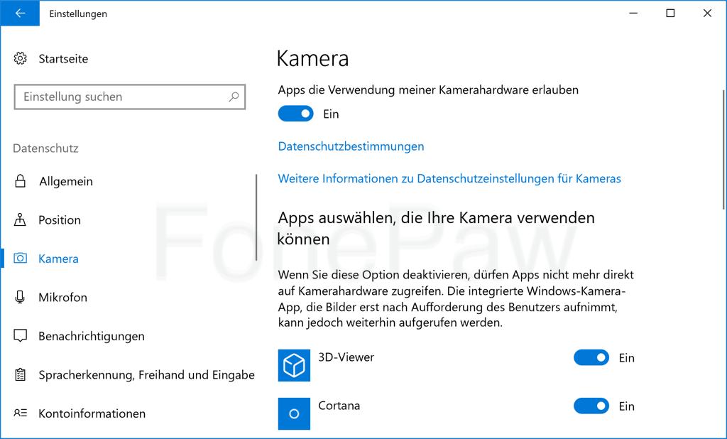 Windows Kamera Datenschutz Einstellungen