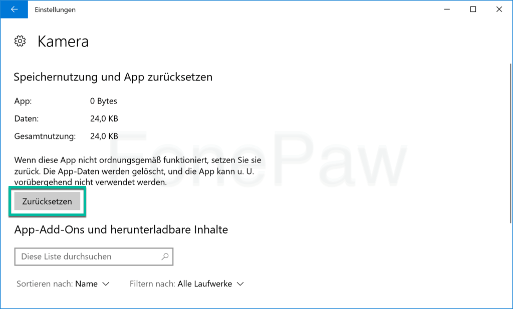 Windows Kamera App zurücksetzen