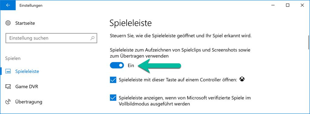 Windows 10 Spielleiste aktivieren