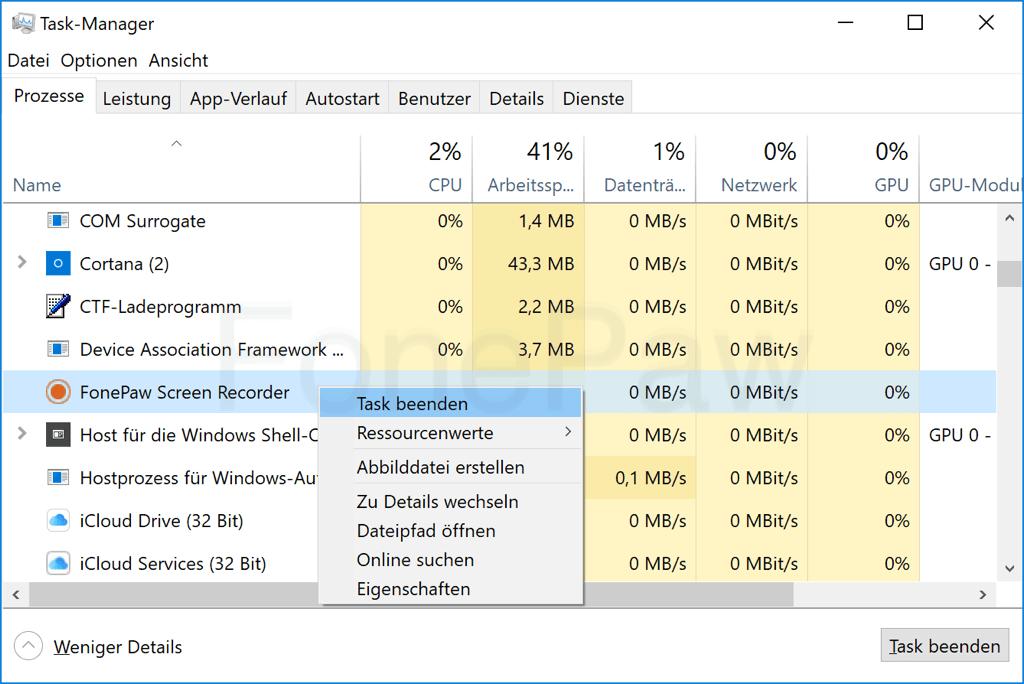 Windows 10 Prozesse beenden