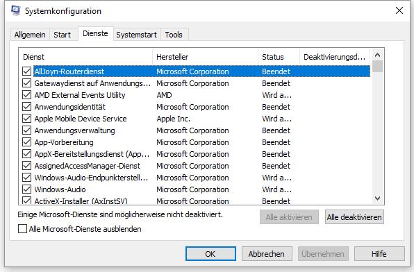 Snipping Tool reparieren mit Windows Systemkonfiguration