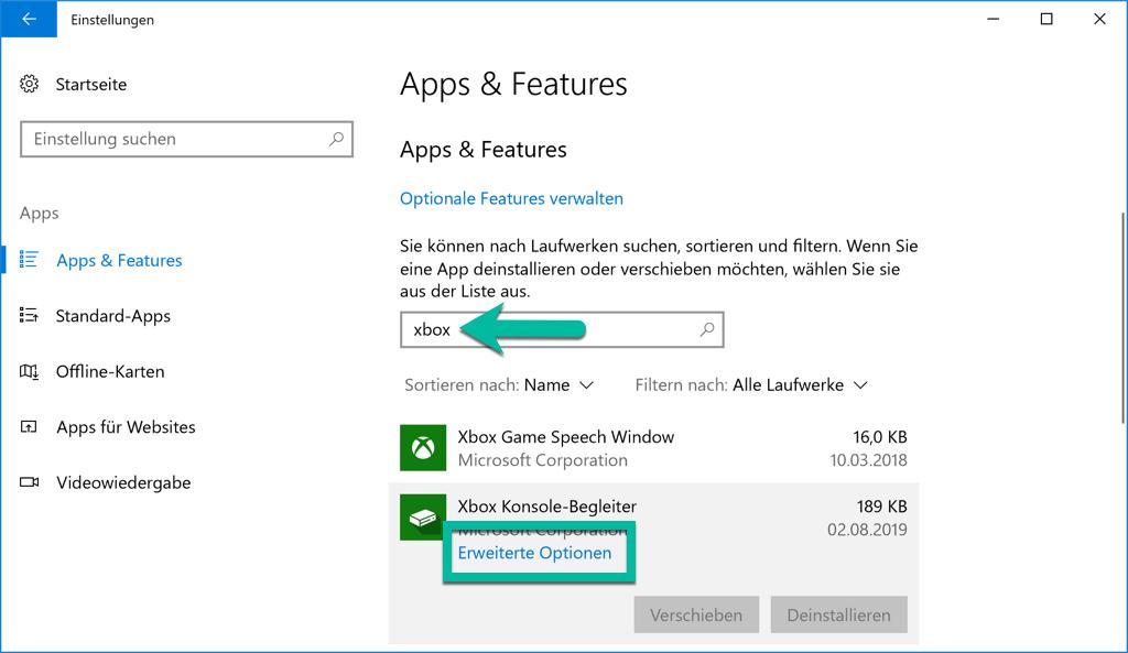 Xbox Konsole-Begleiter Erweiterte Optionen