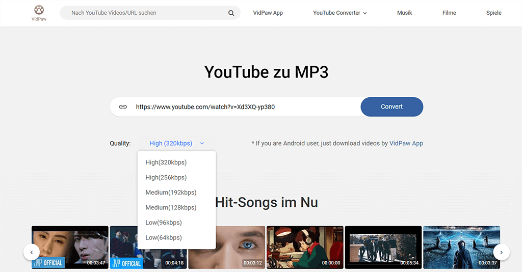 YouTube zu MP3 per VidPaw downloaden