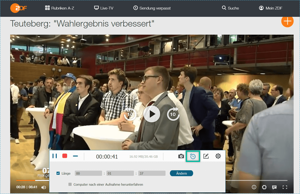 Zeitlänge für Aufnahme der ZDF-Videos einstellen