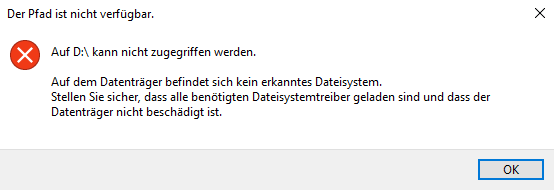 Auf dem Datenträger befindet sich kein erkanntes Dateisystem
