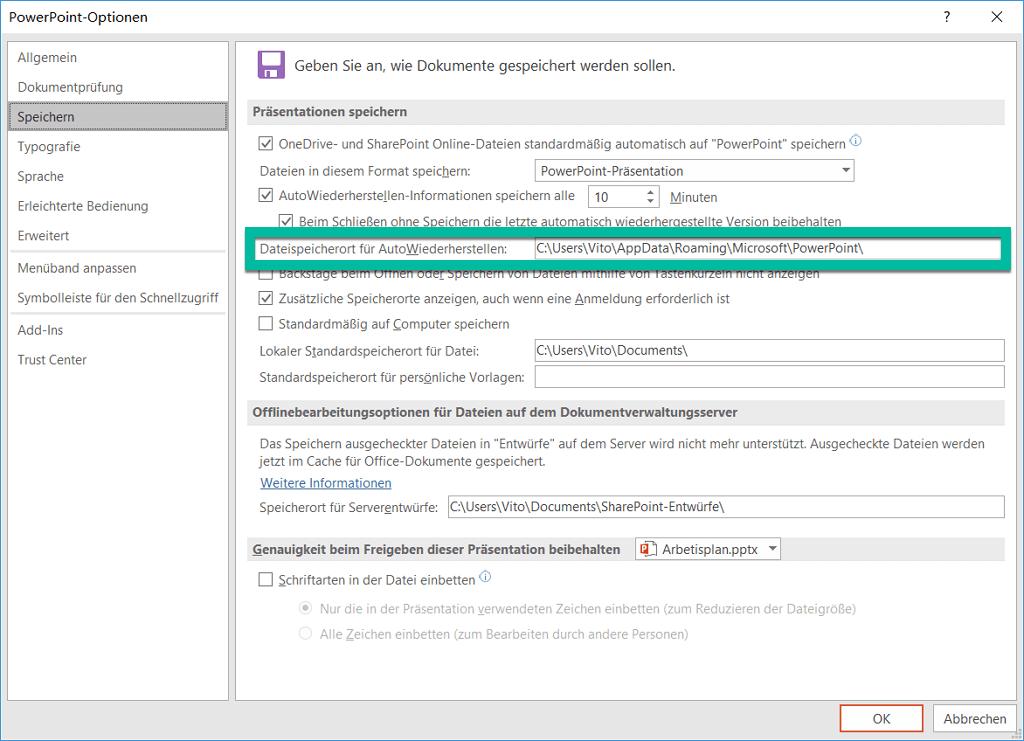 Dateispeicherort für AutoWiederherstellen einstellen PowerPoint
