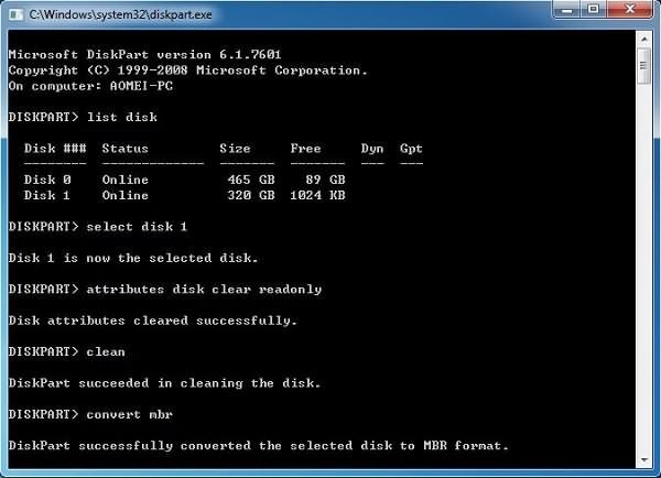 Datenträger in MBR-Format konvertieren