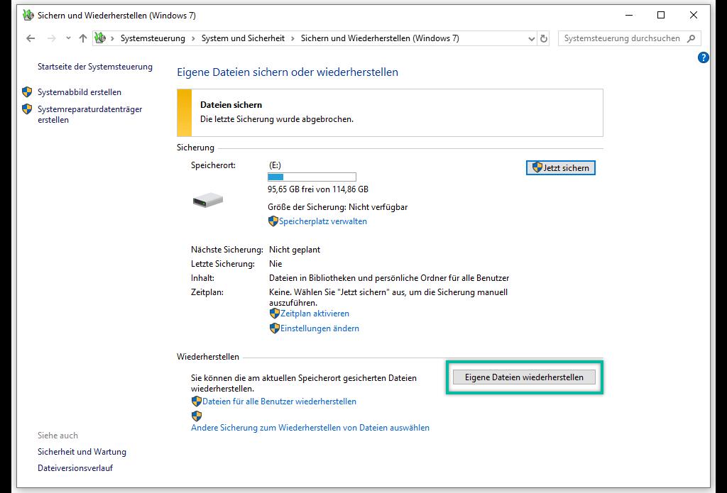 Eigene Dateien wiederherstellen