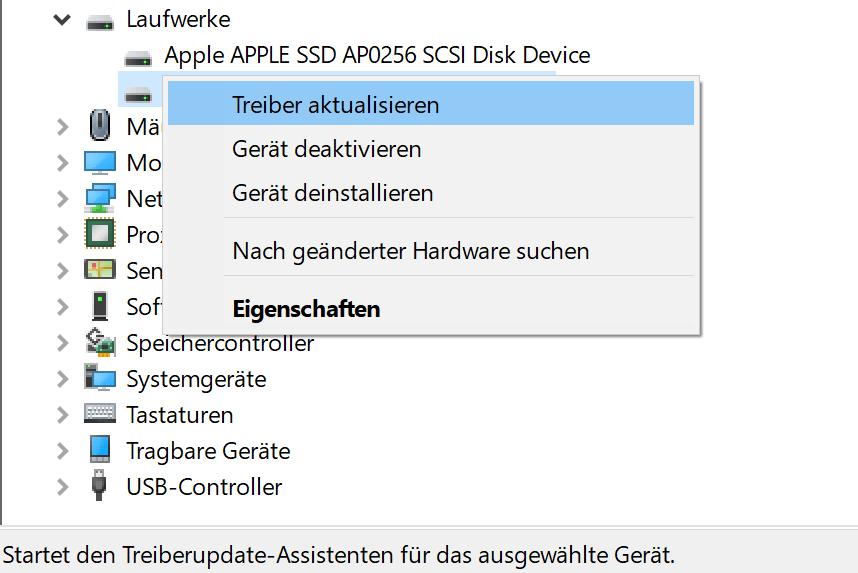 USB Externe Festplatte Trieber aktualisieren