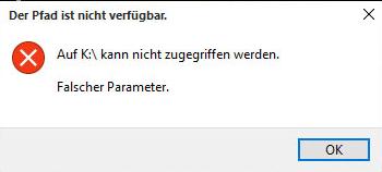 Festplatte kein Zugriff. Falscher Parameter