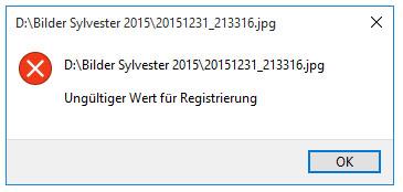 Fehlermeldung Ungültiger Wert für Registrierung