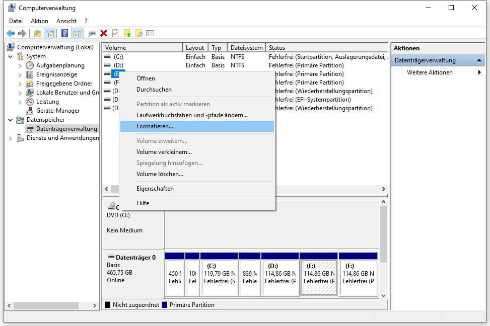 Festplatte formatieren in Datenträgerverwaltung