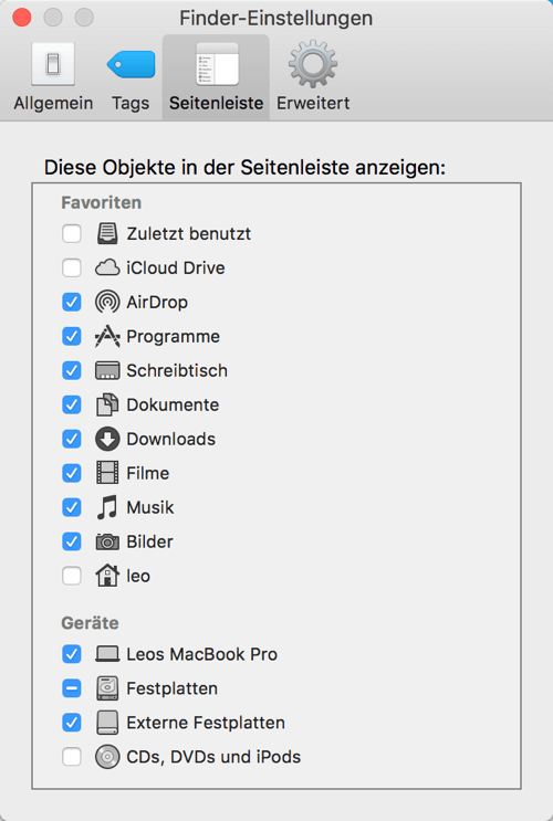 Mac Festplatte im Finder anzeigen