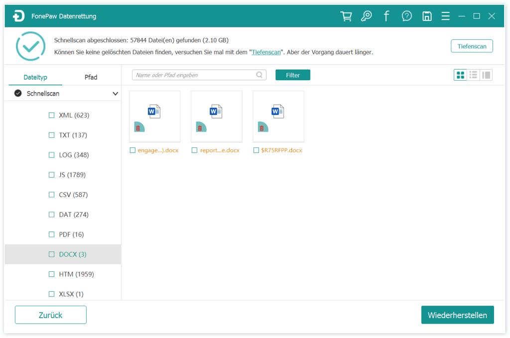Gelöschte Word Datei finden und checken