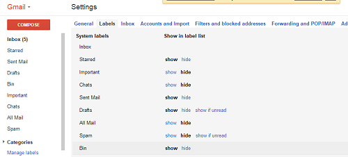 Gmail-Papierkorb zeigen