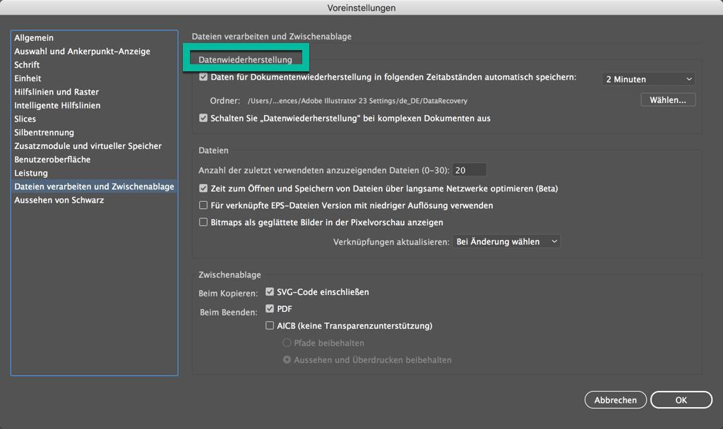 Illustrator Datenwiederherstellung