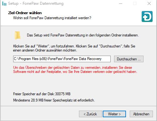 Installation von Datenrettung