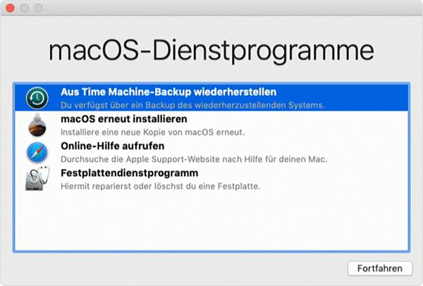 Mac aus Time Machine Backup wiederherstellen im Wiederherstellungsmodus
