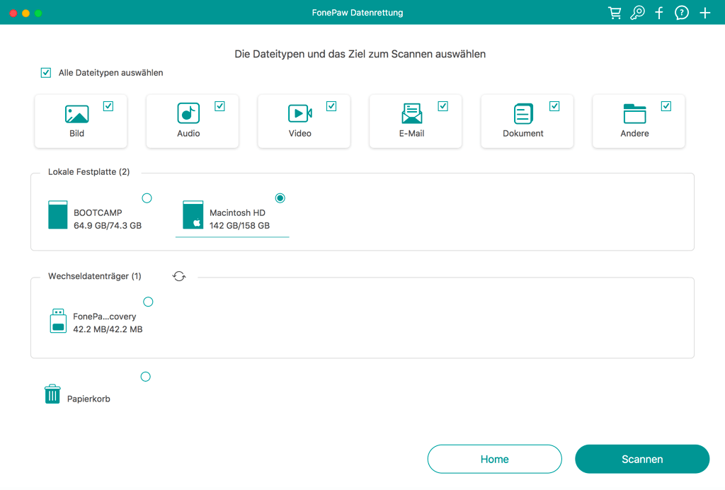 Datentyp und die formatierte Festplatte zum Scannen auswählen