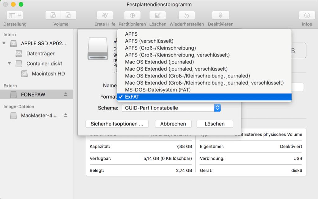 Mac externe Festplatte formatieren