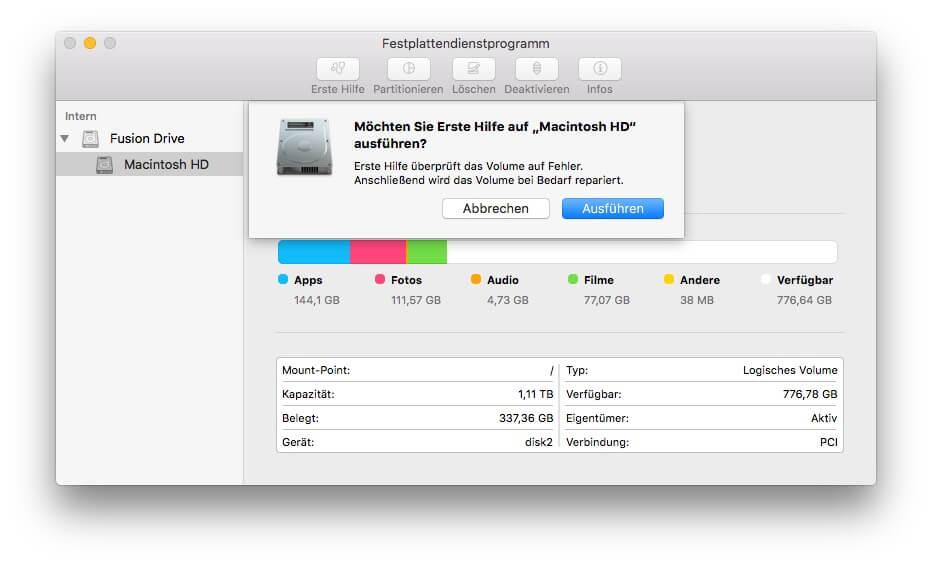 USB Stick mit Erste Hilfe auf Mac reparieren