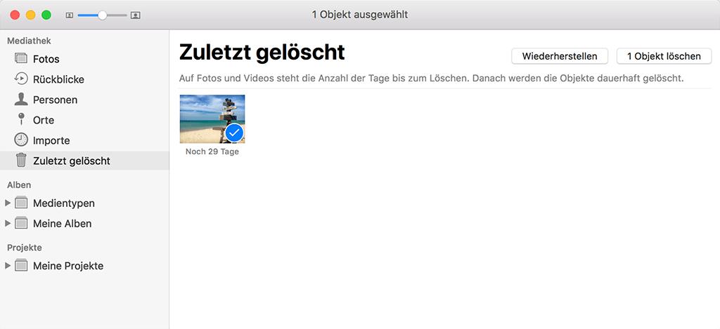 Zuletzt gelöschte Mac-Fotos wiederherstellen
