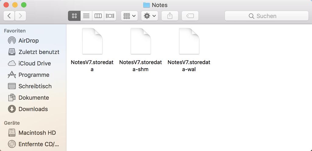 Zum Ordner Notes auf Mac gehen