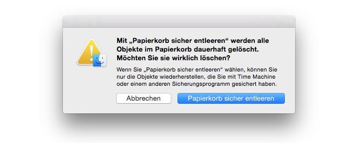 Mac Papierkorb sicher entleeren