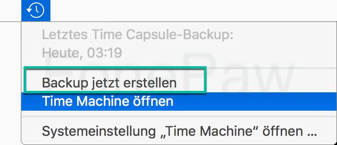 Mac Time Machine Backup jetzt erstellen in der Menüleiste