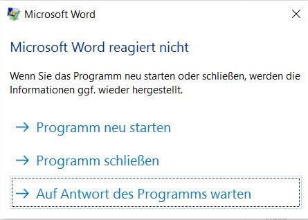 Microsoft Word funktioniert nicht mehr