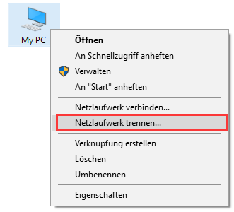 Windows-Netzlaufwerk trennen